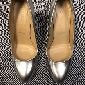 "J.Crew Mona leather pumps in silver. 3"" heel."